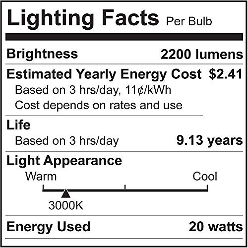 WTL 4 Packs A21 LED Light Bulb 20W Equivalent 150-200W 2200LM High Lumens and 3000K Soft White Non-dimmable E26 Medium Base Bulb for Living Room