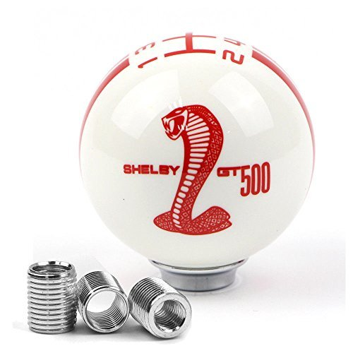 MAX WHOLESALE Mustang Shelby GT 500 Cobra 5 Speed Stick Gear Shift Knob Lever Shifter Cover For Ford Mustang (White with Red (Cobra Shift Knob)
