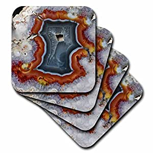 Danita Delimont - Rocks - Quartzsite, Banded Agate, Orange and Gray - set of 8 Coasters - Soft (cst_229655_2)