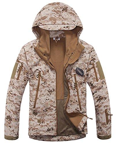 UDRES Men's Fleece Liner Outerwear Hooded Water Resistant Softshell Tactical Jacket (Medium, Desert Digital) ()