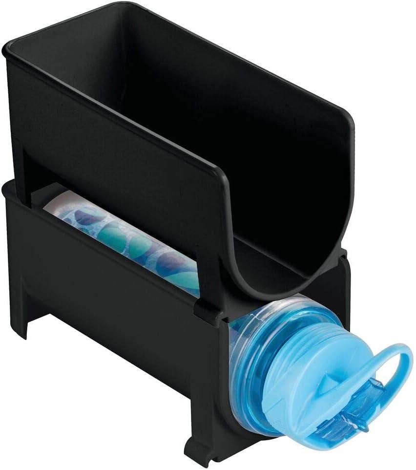 mDesign Juego de 2 Modernos estantes para Botellas – Botellero apilable para Botellas de Agua y cantimploras – Elegante vinoteca para la Cocina y la despensa – Negro