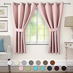 VEEYOO Bedroom Blackout Curtains 2 Panels - Thermal Insulated Grommet Window Curtain with Tiebacks Thick Darkening Drapes for Living Room, 52 x 63 Inches Pink Curtains