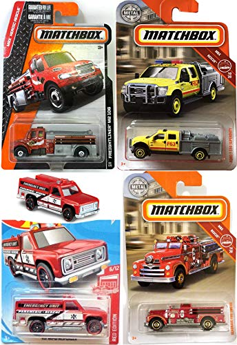 (Matchbox Red/Yellow 2019 Truck Emergency Fire Squad Truck Rescue Bundle Ford Superduty / Freighliner / Seagrave Engine + Hot HW Responder Unit Mission MBX Bundle 4-Pack F.D. Heroic Rescue)