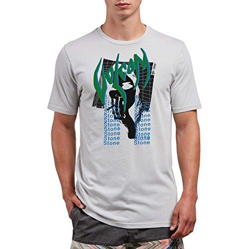 (Volcom Men's Smoke Grid Short Sleeve Graphic Tee, Off White, L)