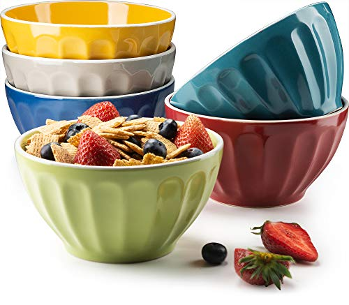 KooK Ceramic Bowls, Assorted Colors, Great for Cereal, Fruit, Dessert, Set of 6, 22oz capacity