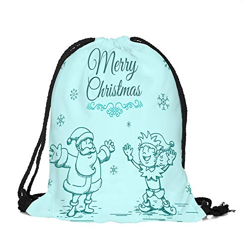 ✈ HYIRI Merry Christmas Candy Deer Pocket Bag Satchel Rucksack ()