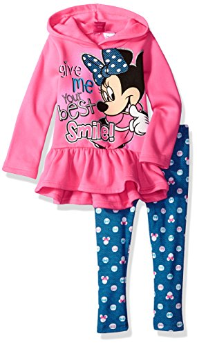 Disney Girls Minnie Mouse 2-Piece Hooded Top and Legging Set