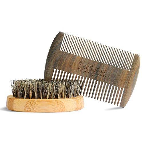 Beard Comb & Beard Brush Kit with carring bag for men - Handmade sandwood Comb and Natural Boar Bristle Beard Brush set for Beard & Mustache Shaping