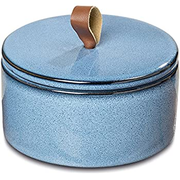 Gaucho Rustic Round Box, Food Safe, Artisan Crafted, Cobalt and Ocean Blue, Porcelain, Leather Loop Handled Lid, 6 Inches in Diameter, 3 1/4 Inches Tall, Ceramic Container