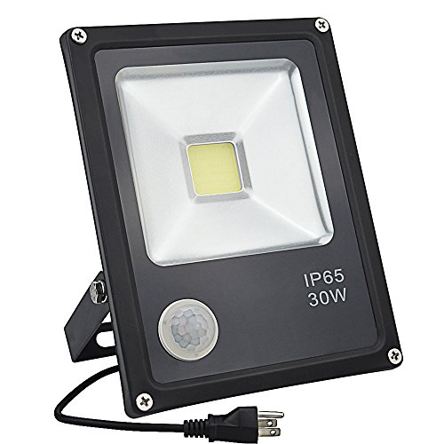 GLW 30W LED Motion Sensor flood light,Daylight White Lamp with Sensitive PIR, IP65 Waterproof Outdoor Lighting,110V Security Light for Backyard,Warehouse, Pool ,Garage,Path, Fence - Infrared Led Lighting