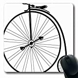 Ahawoso Mousepad for Computer Notebook Fun Tricycle Vintage Bike High Wheel Mode Style Bicycle Old Cyclist Antique Classic Design Oblong Shape 7.9 x 9.5 Inches Non-Slip Gaming Mouse Pad
