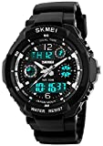 Fanmis Unisex Sports Watch Multifunction Green Led Light Digital Waterproof S - Shock Wristwatch (Black)
