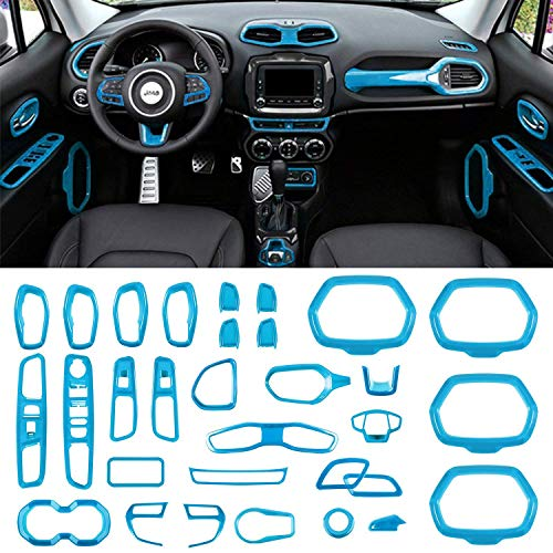 Danti Car Interior Accessories Decoration Cover Air Conditioning Vent & Door Speaker & Water Cup Holder & Headlight Switch & Window Lift Button Covers for Jeep Renegade 2015-2020 (Light Blue)