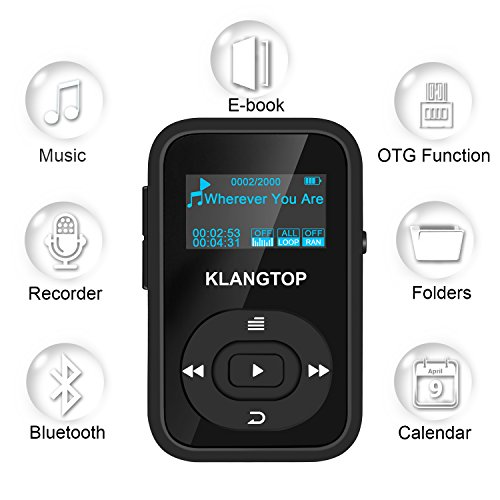 MP3 Player 8GB Bluetooth KLANTOP Digital Clip Music Player ...
