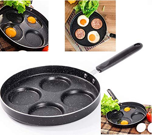 (Professional Aluminum Non-Stick 4-Cup 9.5 inch Egg Pan - for Gas and Electric Stovetops - Egg Frying Pan )