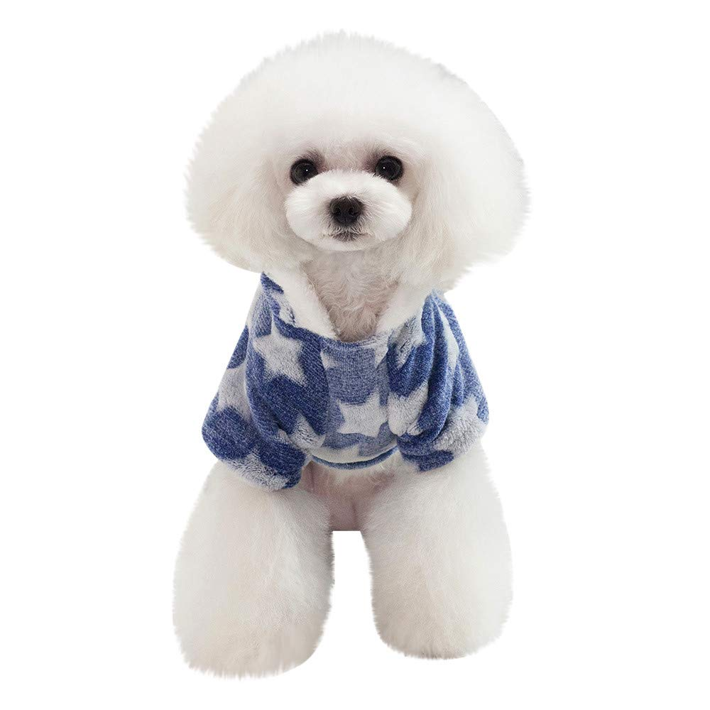 Glumes Pet Clothes, Puppy Hoodie Sweater Dog Coat Warm Sweatshirt Flannel Star Print Shirt for Small Dog Medium Dog Or Cat (S, Pink)