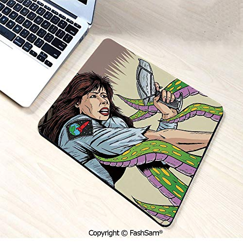 Non-Slip Rubber Mouse Pads Alien Attacks Terrified Uniform Woman Human Against Monster Sci Fi Discovery for Computers Laptop Office(W9.85xL11.8)