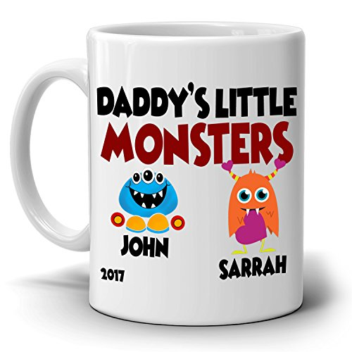 Personalized! Daddy's Little Monsters Son and Daughter Gifts Mug for Dad Papa Fathers Day and Birthday, Printed on Both - Use I Online Can Next Vouchers