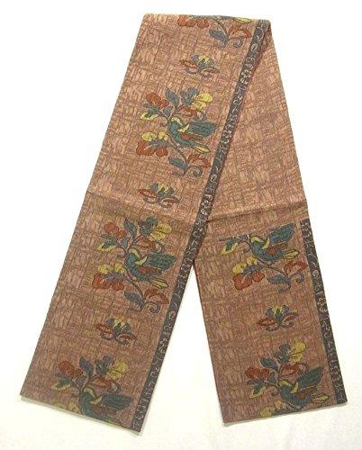 カスケード不適苦味リサイクル 袋帯 花喰い鳥の意匠 正絹 六通