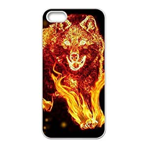 Custom New Cover Case for Iphone 5,5S, Fire Wolf Phone Case-R662691
