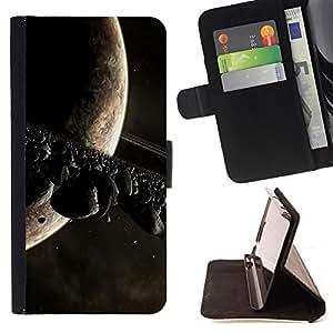 - ALIEN PLANET ASTEOID UNIVERSE SATURN MOON BELT - - Prima caja de la PU billetera de cuero con ranuras para tarjetas, efectivo desmontable correa para l Funny HouseFOR Sony Xperia Z1 L39