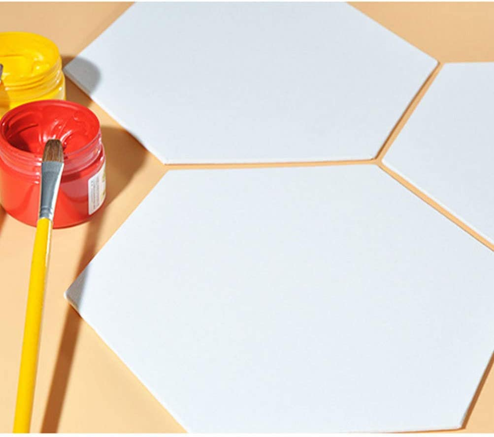 Exceart 3 Pcs 12.5cm Canvas Paint Board Hexagon Shaped Canvas Drawing Panels Thicken Sketchpad Art Painting Board for DIY Artist Beginners White/ï/¼/‰