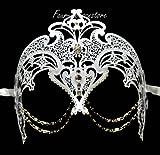 New Women Mystical Mask Laser Cut Venetian Halloween Masquerade Mask Costume Extravagant Inspire Design – White