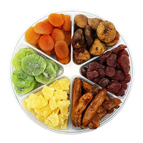 Dried Fruit Deluxe Gift Tray, 6 Section Collection of Fresh Fruits By FirstChoiceCandy by First Choice Candy