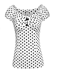 Meaneor Women Vintage Cap Sleeve Polka Dot Shirt Cocktail Party Casual Blouse