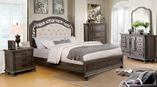 PERSEPHONE Formal Traditional Look Stylish Elegant Majestic Rustic Natural Tone Finish California King Size Bed Matching Dresser Mirror Nightstand Intricate Wood Carving Bedroom 4pc Set