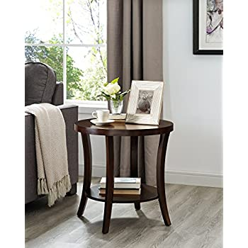 round espresso end table wood roundhill furniture oe0020ep perth contemporary round end table with shelf espresso amazoncom