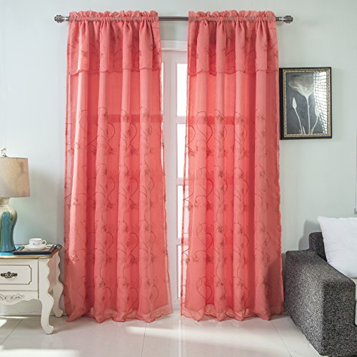 RT Designers Collection Brett Floral Embroidered 54 x 84 in. Rod Pocket Single Curtain Panel w/Attached Valance, Coral, 54