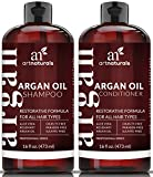 #1: Art Naturals Organic Moroccan Argan Oil Shampoo and Conditioner Set (2 x 16 Oz) - Sulfate Free - Volumizing & Moisturizing, Gentle on Curly & Color Treated Hair,For Men & Women Infused with Keratin
