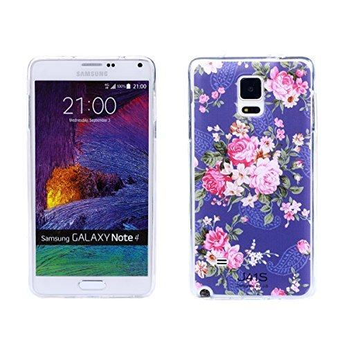 Samsung Galaxy Case Nota 4, caso de TPU Soft Gel, patrones de diseño colorido Contraportada transparente protectora para el Samsung Galaxy Note 4 (flor de Rose)