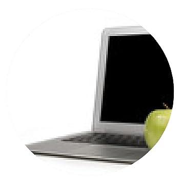 alfombrilla de ratón Centrarse en la manzana verde en un ordenador portátil - ronda - 20cm
