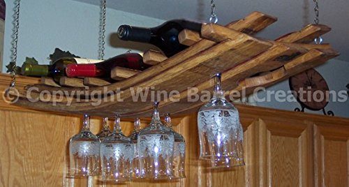 Hanging Wine Bottle And Glass Rack 16 Made From Oak Wine Barrel