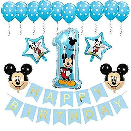 Amazon BE Happy Mickey Mouse 1st Birthday Decorations Banner