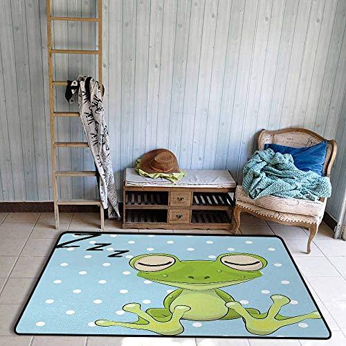 - Door Rug Area Rug Cartoon Sleeping Prince Frog in a Cap Polka Dots Background Cute Animal World Kids Decor Easy to Clean W39 xL63 Green Blue