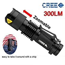 Pocketman 7W 300LM SK-68 3 Modes Mini Cree Q5 LED Flashlight Torch Tactical Lamp Adjustable Focus Zoomable Light(Black) by pocketman