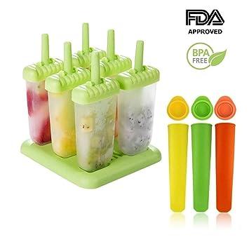 Molde para helados | Molde de polo de helado de 6 celdas + molde de silicona ...