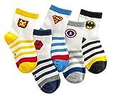 PenGreat Kids Toddler Boy's Fashion Cartoon Super Men Stripe Crew Socks 5 Pairs