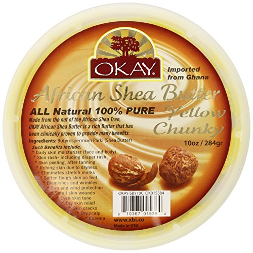 Okay Shea Butter Chunks Jar, Yellow, 10 (Butter 10 Oz Jar)
