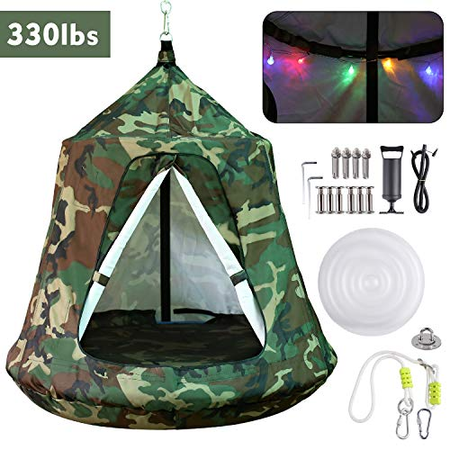 GARTIO Hanging Tree Tent, Swing Play House, Portable Hammock Chair, with LED DecorationLights, Inflatable Cushion, Suit for Adult and Kids Indoor Outdoor, Max Capacity 330lbs (Camouflage)