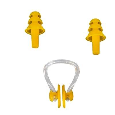 Igemy étanche souple de natation en silicone Nez Clip + bouchons d'oreille Bouchons d'oreilles Outil utile jaune