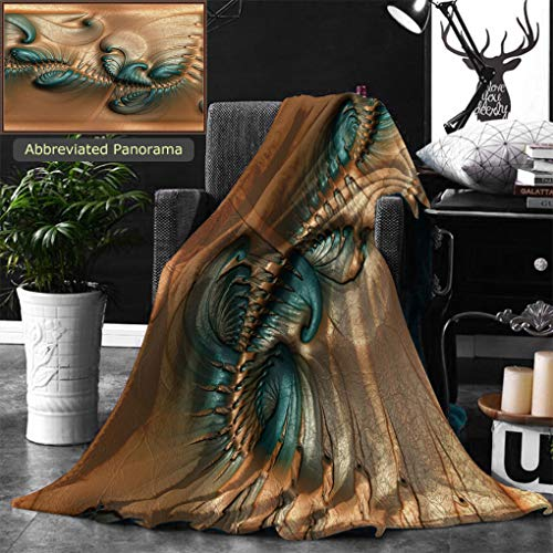 Ralahome Unique Custom Double Sides Print Flannel Blankets Pattern Background Tile With Embossed Fractal On Leather Super Soft Blanketry for Bed Couch, Twin Size 70 x 60 Inches