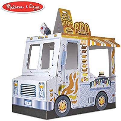 Melissa & Doug Food Truck Indoor Playhouse (Corrugate Ice Cream and Barbecue Truck, Nearly 4 Feet Long)