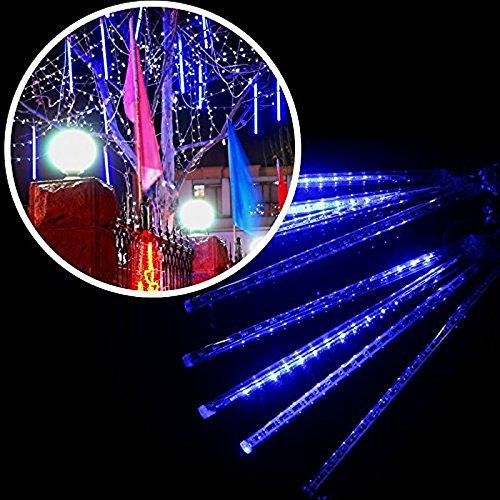 Weihnachten Dekoration Lichterkette 8 30cm Tube Meteorschauer Regen Schneefall 100V-240V Deko-Leuchten f/ür Au/ßen Garten Decoration EU Stecker Blau