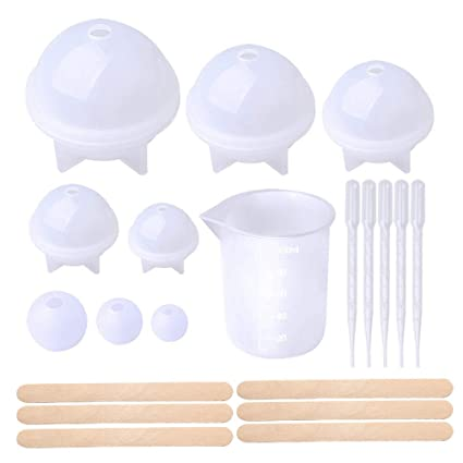 Pengxiaomei Sphere Round Resin Mold, Epoxy Silicone Ball Molds with Nonstick Mixing Cup Dropper and