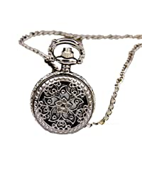 Women's Luxury Floral Hollow Pocket Watch, SUPPION Necklace Pendant Chain Watch