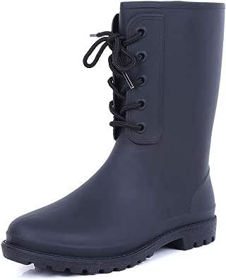 Sisenny Women's Mid Calf Rain Boots Waterproof Rubber Booties Garden Shoes
